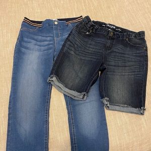 Girls size 18 Cat and Jack shorts with Jeans